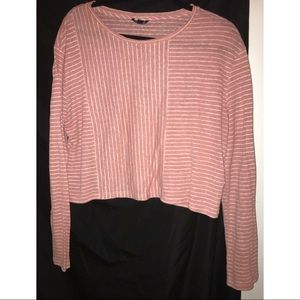 Striped Pink Topshop Cropped Shirt